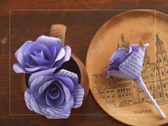 Gentian Dyed paper rose buttonholes or boutonnières custom made for a wedding