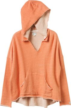 Easy Heart Fleece is a French terry pullover sweatshirt with slouch fit, oversized hood, and v-neckline.