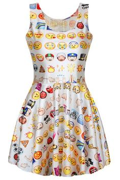 White Colorful Ladies Cute Emoji Printed Funny Skater Dress
