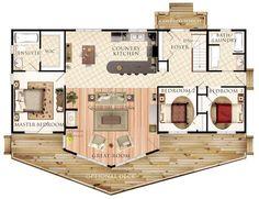 Hermoso plano de casa de campo de 132,7m2 y 3 dormitorios