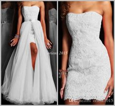 Wholesale Detachable Train - Buy Best Quality Sweetheart Sheath Wedding Dress with Detachable Train Appliqued Hi-lo Prom Party Dress Gown, $123.57 | DHgate