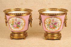 Pair German Dresden Porcelain Planters Ormolu Pots Floral Urns