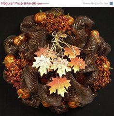 WREATH SALE Fall Mesh Wreath Poly Mesh Wreaths by wreathsbyrobin