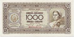 1000 Dinara 1946 (Landarbeiterin),  seltenere Variante ohne Sicherheitsfaden