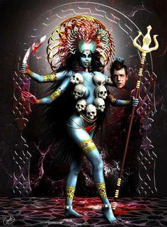 Kali the Destroyer, head, staff, headress, blue lady multiple armd