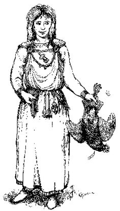 Anglo-Saxon woman. Note the small Seax on her left side