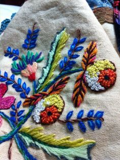 Crewelwork embroidery brings appealing depth and texture...