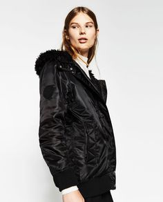 Image 4 of LONG HOODED BOMBER JACKET from Zara