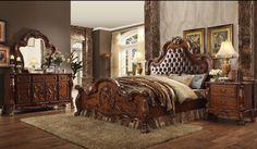 ACME Dresden California King Bed PU & Cherry Oak - 23134CK