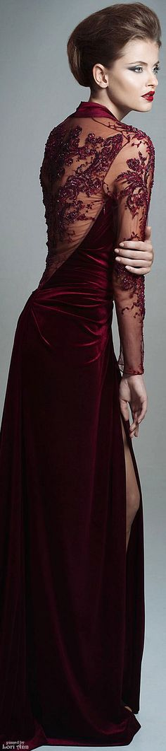 Blanka Matragi Couture Fall 2015 Marsala, Bordeaux, Wine, Burgundy