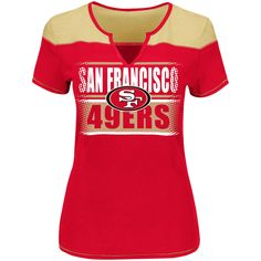 San Francisco 49ers Majestic Women's Plus Size Football Miracle T-Shirt - Scarlet/Gold - $31.99