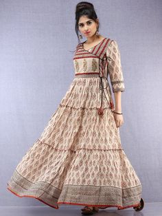 Mahira - Hand Block Printed Long Cotton Tiered Embroidered Angrakha Dress - Source by yogandhri dresses design Long Dress Design, Stylish Dress Designs, Designs For Dresses, Stylish Dresses, Cotton Gowns, Cotton Long Dress, Long Gown Dress, Indian Designer Outfits, Designer Dresses