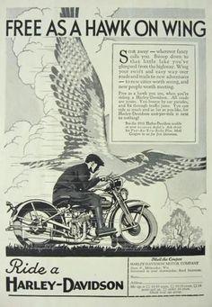 vintage harley ads | 1931 Harley Davidson Ad ~ Free as a Hawk, Vintage Motorcyle Ads