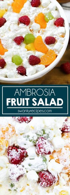 Ambrosia Salad - Creamy fruit salad served as a side dish or appetizer. Our family loves this Ambrosia Salad for Easter, Mother's Day, and Memorial Day. #fruitsalad #vegetarian #salad Best Salad Recipes, Easy Dinner Recipes, Side Dish Recipes, Summer Recipes, Beef Recipes, Appetizer Recipes, Vegetarian Recipes, Creamy Fruit Salads, Ambrosia Salad