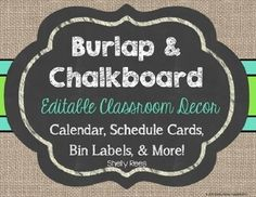 Editable Chalkboard and Burlap Labels FreebieLooking for a quick way to beautify and organize your classroom? These rustic, chic chalkboard and burlap labels are just what you need.Using this file is (Favorite Fonts Products) Chalkboard Classroom, Chalkboard Decor, Classroom Labels, Classroom Decor Themes, Classroom Design, School Classroom, Classroom Ideas, Classroom Door, Future Classroom