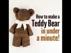 You will love to learn how to make a washcloth teddy bear and it makes the perfect baby shower gift. Be sure to watch the video tutorial too. Diy Teddy Bear, Teddy Bear Baby Shower, Cute Teddy Bears, Towel Origami, Towel Animals, How To Fold Towels, Baby Washcloth, Washcloth Cupcakes, Towel Crafts
