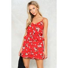 Nasty Gal Sunshine of Your Love Floral Romper ($50) ❤ liked on Polyvore featuring jumpsuits, rompers, red, v neck romper, playsuit romper, red cami, floral print cami and floral camisole