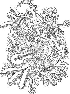 music doodles, neat and detailed, strokes - intact - vector illustrations