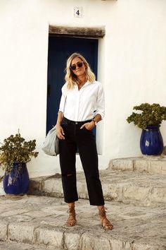 Le Fashion Blog Black Ripped Boyfriend Jeans Wavy Bob Clear Sunglasses White Button Down Shirt Bucket Bag Lace Up Sandals Vacation Style Via Adenorah