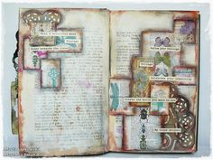 "Maremi's Small Art: ""Follow your feelings"" mixed media art journal page for Cardz'n'Scrapz"