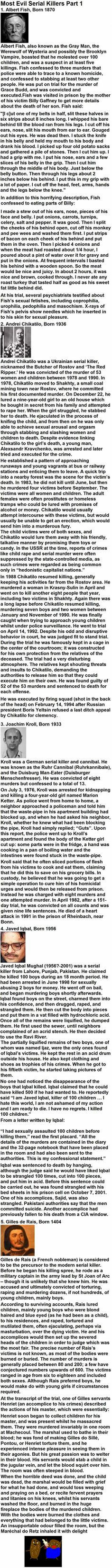 Most Evil Serial Killers Part 1