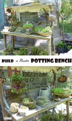 Build a Rustic Potting Bench and enjoy your rustic work area; barnboard, twigs and some easy techniques will get you started. Garden Crafts, Diy Garden Decor, Garden Projects, Garden Art, Garden Design, Garden Ideas, Rustic Potting Benches, Potting Bench Plans, Planting Bench