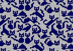 cat pattern to fill in Filet Crochet, Crochet Chart, Knitting Charts, Knitting Stitches, Knitting Patterns, Cross Stitching, Cross Stitch Embroidery, Cross Stitch Patterns, Cat Cross Stitches