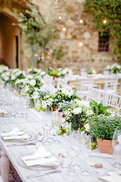 Rustic Norwegian Wedding in Tuscany Herb Wedding Centerpieces, Potted Plant Centerpieces, Wedding Table, Rustic Wedding, Wedding Decorations, Quinceanera Centerpieces, Table Centerpieces, Diy Wedding, Floral Wedding