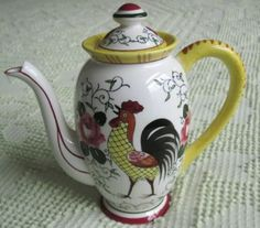 Early Provincial Rooster and Roses | ... American Provincial Roses and Rooster Individual Teapot Coffee Pot