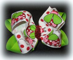 Happy Pretty Ladybug Double Layered Hair by MyBellaBellaBowtique, $5.75