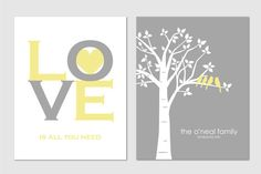 Personalized Custom Love Bird Wedding Family Tree - Birds on Branch - Love is All You Need - Set of 2 prints- 11x14s