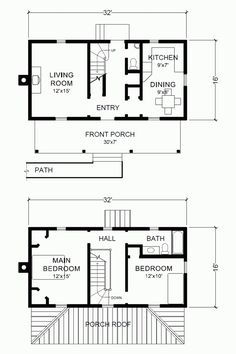 "Project Small House: Virginia Farmhouse Plans 16' x 32"" Two Story House Plans - I would definitely add more closet."