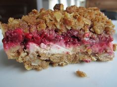 Creamy Crunch Bars with raspberries - The Leftovers Lady