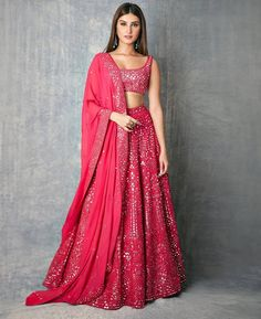 giving us major Wedding Outfit Goals with her Splendid Mirror work Pinkish Lehenga. Indian Gowns Dresses, Indian Fashion Dresses, Indian Designer Outfits, Bollywood Bridal, Bollywood Fashion, Bollywood Lehenga, Bollywood Style, Bollywood Dress, Lehenga Saree