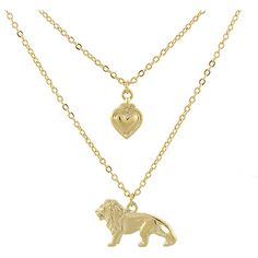 1928 14K Gold-Dipped Cecil the Lion Layered Necklace ($32) ❤ liked on Polyvore featuring jewelry, necklaces, multi layered necklace, engraved heart necklace, 14k jewelry, engraved jewelry and layered necklace