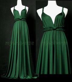 Maxi Dress Wedding Dress Wrap Convertible Dress Bridesmaid Dress Infinity Dark Green Plus Size via Etsy. ALRIGHT HI KIERA KNIGHTLY $99