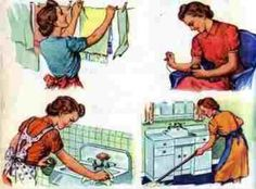 """Tile or trivet with six images of a retro housewife doing her chores and the saying """"Another Day in Paradise! 1950s Housewife, Vintage Housewife, Post Secret, Frugal Tips, Do It Yourself Home, Just Kidding, Saving Ideas, Saving Tips, Spring Cleaning"""