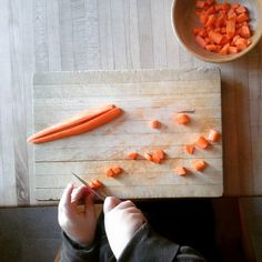 Our Rhythm ~ Tuesday: Make Vegetable Barley Soup ~ Chop, chop, chippity, chop. Cut off the bottom and cut off top. What we have left we put in the pot. Chop, chop, chippity, chop.
