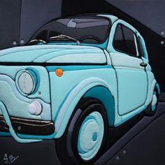 """Sculture Vestite di Stefano Bressani """"Fiat 500 The mirror of the sky"""" 50x50x4 cm - 2012 Opera n° 182 All right reserved © (Private Collection)"""