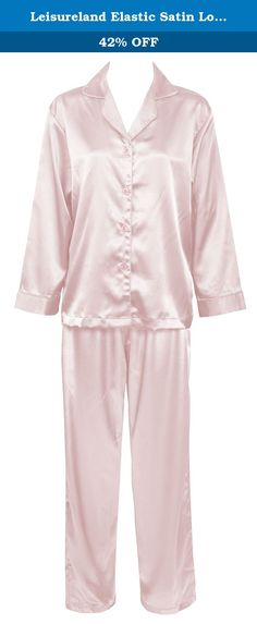 Leisureland Elastic Satin Long Sleeve Pajama Set (Large, Pink). High quality, silk-like satin charmeuse, 97% Polyester, 3% Spandex. Long sleeve top with notch collar, cuffed sleeve and same color satin piping. Elastic waist pants with drawstring. Matching pajama pants, boxers, and sold seperately.