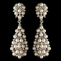 Rhodium Clear Rhinestone & Diamond White Pearl Dangle Earrings