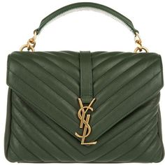 Saint Laurent YSL Monogramme MD College Bag Green in green, Shoulder... ($1,890) ❤ liked on Polyvore featuring bags, handbags, shoulder bags, purses, green, mini shoulder bag, shoulder handbags, green purse, leather handbags and leather purses