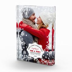 Our First Christmas. Custom Photo Block. Modern and chic Winter Foliage and Snowflakes design Christmas Gift Photo Block with personalized newlyweds photo, names and year. Add your picture and text to this Christmas Design and make an unique Holiday gift to the one you love, friends or family. Matching cards, postage stamps and other products available in the Christmas & New Year Category of the Mairin Studio store at zazzle.com
