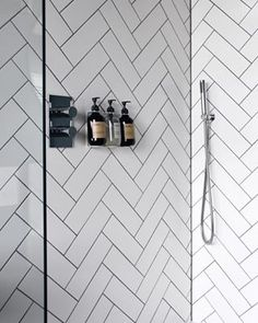 Likes, 91 Comments - Abi Dare Grey Grout Bathroom, White Tiles Grey Grout, White Herringbone Tile, Bathroom Wall, Cornwall, Fourth Wall, White Houses, House Tours, Glee