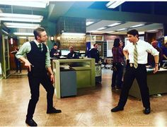 Peter Scanavino and Andy Karl behind the scenes from season 17! I love how much fun the cast has behind the scenes!