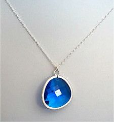 """29mm Faceted Glass Pendant Framed in Matte Rhodium on an 18"""" Argentium Sterling Silver Chain *Tarnish Resistant*"""