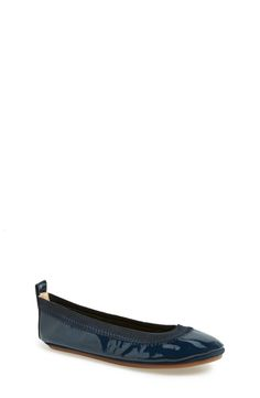 Yosi Samra Patent Foldable Ballet Flat (Toddler, Little Kid