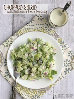 Chopped Salad with Buttermilk-Pesto Dressing | EricasRecipes.com