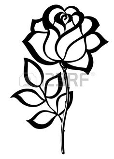 black silhouette outline rose isolated on white Many similarities in the profile of the artist Stock Vector