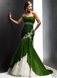 olijf groene gala jurk - Google Search